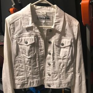 Express White Distressed Jean Jacket